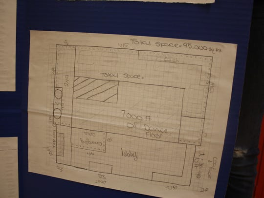 """The blueprint for """"Party Cafe,"""" which would occupy"""