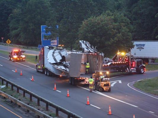 Truck hits Hutch overpass
