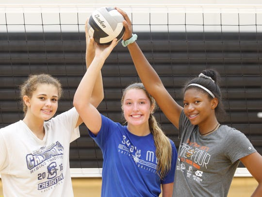The three-time defending Class 5A state champion Ankeny Centennial volleyball team boasts a trio of Division I prospects. From left are junior outside hitters Ari Winters and Kenna Sauer and sophomore middle hitter Devyn Robinson. Sauer has committed to play for Missouri, while Robinson is headed to Wisconsin.