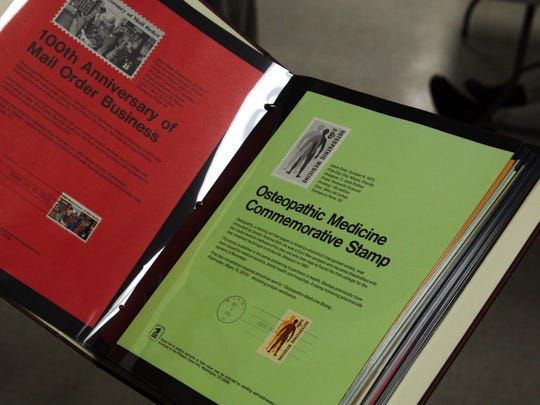 A professional stamp collecting binder which provides detailed information on the stamp being displayed, Monterey County Stamp Club, Aug. 24, 2017
