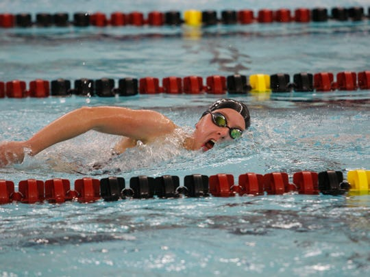 Ankeny's Erin Doruska swims to a victory in the 500 freestyle during Tuesday's dual meet against Indianola at the Trail Point Aquatics Center. She posted a time of 5:18.85.