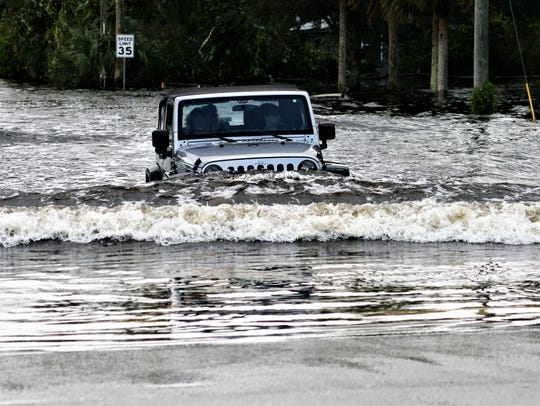 Some residents took their chances in forging through floodwaters swollen by heavy rains and Hurricane Irma in the late summer of 2017.