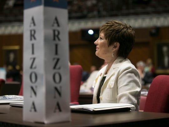 Sen. Nancy Barto of the Arizona delegation listens