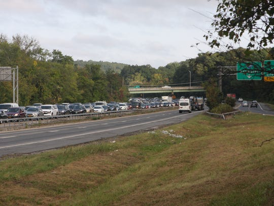 Southbound traffic is backed up on Interstate 684 in