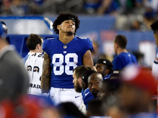 New York Giants tight end Evan Engram (88) reacts after the Seahawks score another touchdown in the fourth quarter. The Seattle Seahawks defeat the New York Giants 24-7 on Sunday, October 22, 2017 in East Rutherford, NJ.