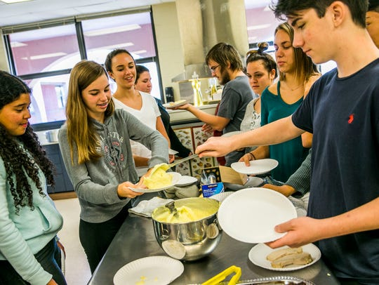 Students in a culinary class at Estero High School