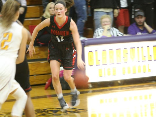 Rossview's Macy Rippy dribbles the ball upcourt against