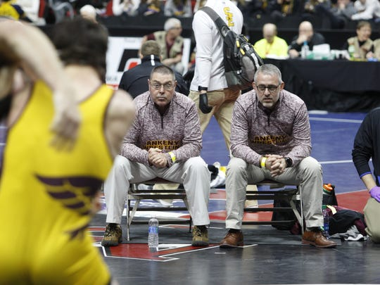 Ankeny coach Jack Wignall, right, and assistant coach