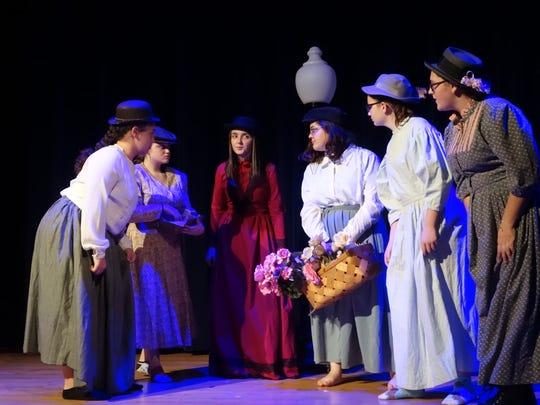 "Kierra Barthalow, Jocelyn Thompson, Brianna McConnell, Alexis Bamberger, Jadyn Art and Olivia Allen in a scene from ""Sherlock Holmes"" playing Wednesday and Thursday at Ridgewood High School."