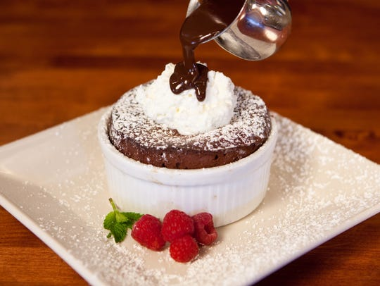 At Salt Creek Grille in Rumson, chocolate ganache souffle
