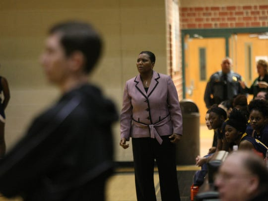 Northeast coach Tracie Mason-Blair stares at her players