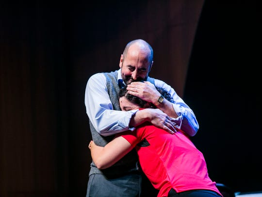 "Mark Vanagas as John Starr hugs JamieLynn Bucci as Laura Starr during rehearsal for the Naples Players' ""Charles Ives, Take Me Home"" at Sugden Community Theater in downtown Naples on Thursday, Jan. 11, 2018."