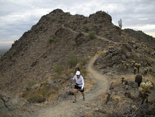 Linda Meder of Waddell, hikes along the Skyline Crest
