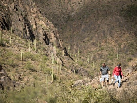 Wayne and Roxanne Riley of Dundas, Canada, enjoy the easy Hieroglyphic Trail in the Superstition Mountans.