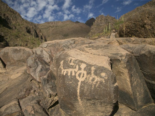 Hohokam people who lived in the region about 1,500 years ago created the petroglyphs at the end of the Hieroglyphic Trail in the Superstition Mountains.