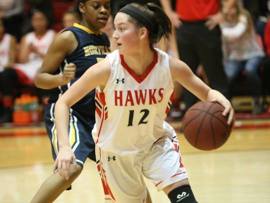Rossview's Macy Rippy (12) looks for a teammate in the post during the second half of their district basketball game Saturday night.