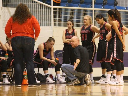 Garden City head basketball coach Joe Crabb instructs