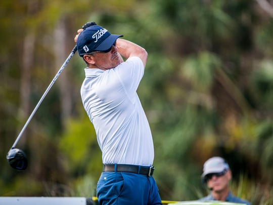 Tommy Tolles tees off during the Chubb Classic Pro-Am