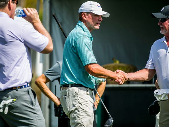 Steve Stricker greets other players during the Chubb