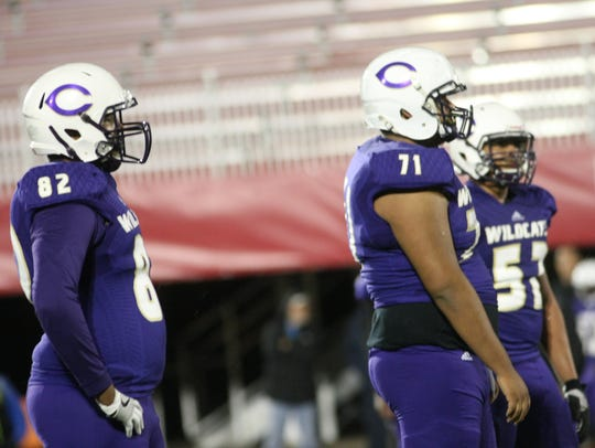 Clarksville Hig's Jason Eaton (71) stands ready for