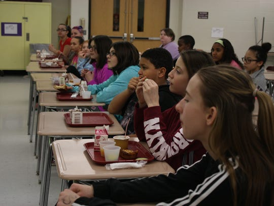 Johnson City Middle School students eat their lunch