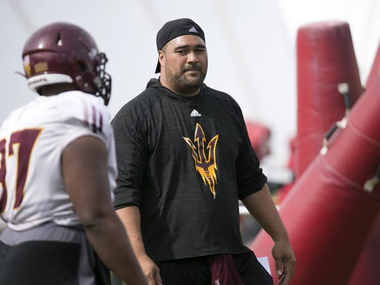 ASU defensive line coach Shaun Nua during an ASU football
