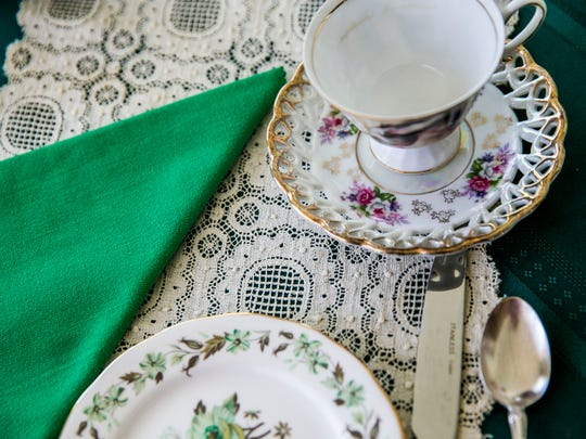 A tea setting during the Bonita Springs Historical Society tea event at the Historic Casner House in Bonita Springs on Friday, March 23, 2018.