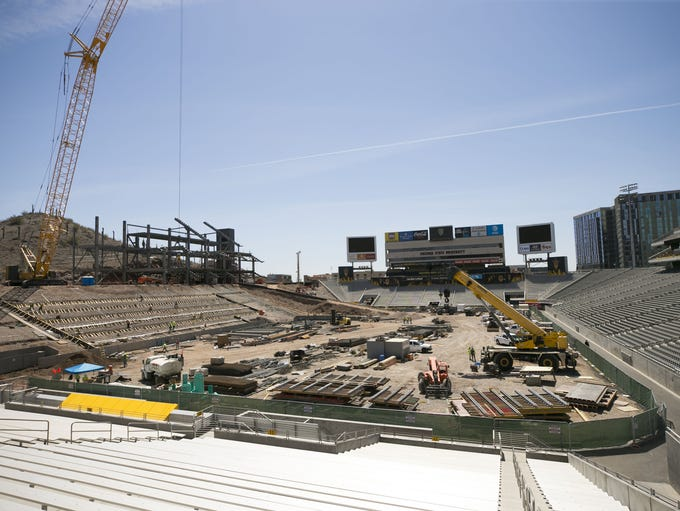 Construction continues on the Sun Devil Stadium in