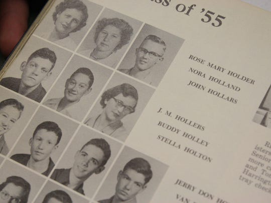 Buddy Holley's sophomore picture is featured in a Lubbock High School yearbook, acquired by Maine-Endwell senior Luke Kaczynski.