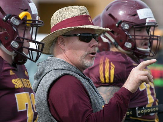 ASU offensive line coach Dave Christensen during an