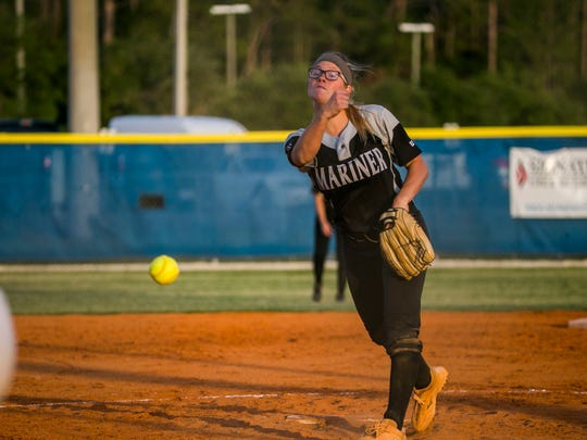 Mariner pitcher Hannah Holloway pitches the ball during the Class 6A regional quarterfinal against Barron Collier on Wednesday, May 2, 2018, at Barron Collier High School in Naples.