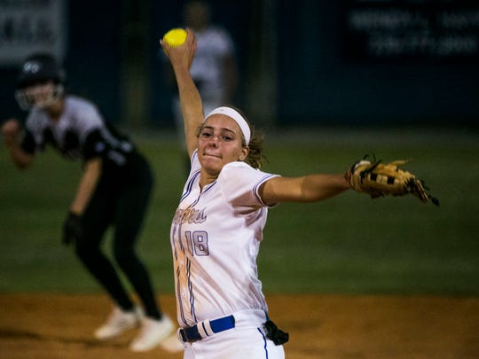 Barron Collier's Maddie Noble pitches the ball against Mariner during the Class 6A regional quarterfinal on Wednesday, May 2, 2018 at Barron Collier High School in Naples.