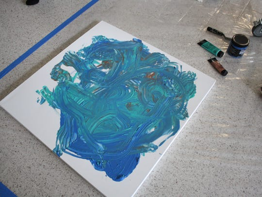 Lindsay Abromaitis-Smith created a painting with her