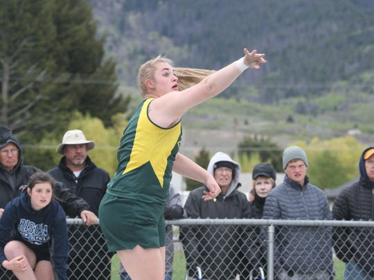 Breanna Johns-Oster of CMR throws the shot put at the Eastern AA Divisional Meet in Butte last Spring. She won the event Saturday at the Skyview Triangular to open the season.