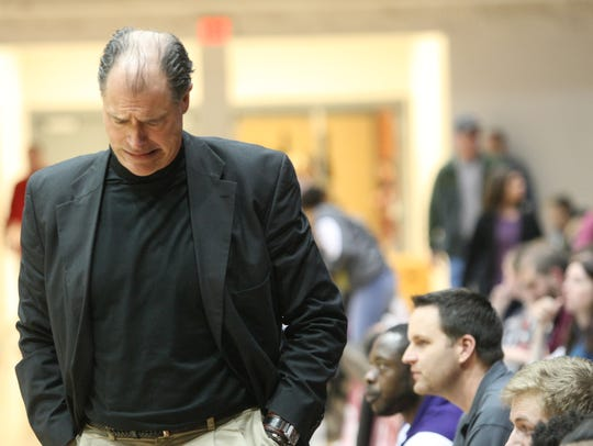 Clarksville High coach Ted Young reacts after a call