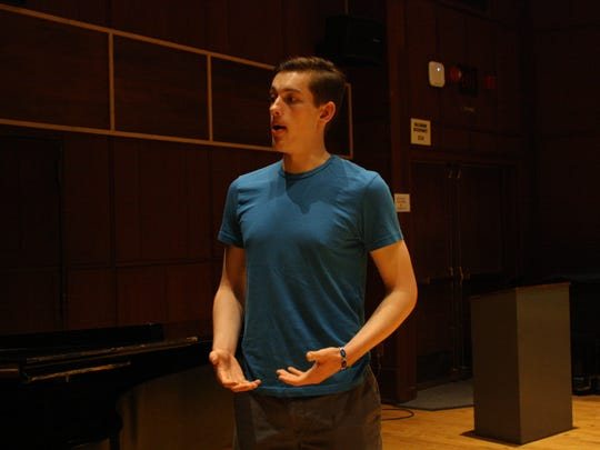 Matthew Goodheart rehearses in Binghamton University's
