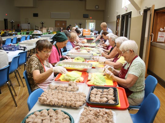 Volunteers prepared thousands of holupki for the St. Cyril Parish Festival in July of 2018.