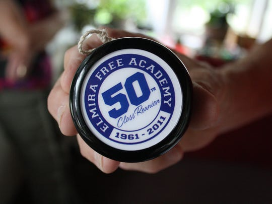 Chuck Pribulick, 75, of Endicott has worked with Duncan Toys to create custom yo-yos, including this yo-yo commemorating the 50th Class Reunion of Elmira Free Academy.
