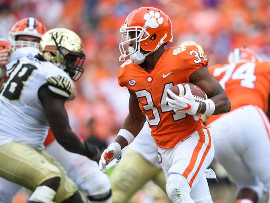 Clemson wide receiver Ray-Ray McCloud (34) carries