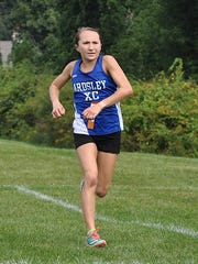 Ruth Segall of Ardsley wins the girls Division 3 cross-country race at the Somers Big Red Invitational. Photo from Sep 9, 2016.