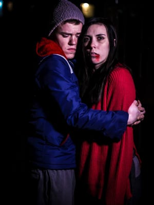 "Oskar (Shane Nelson) and Eli (Tiaja Sabrie) in the Ringwald Theatre's production of""Let the Right One In."""