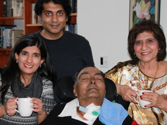 Clockwise from top: Dr. Rajiv Goel, Dr. Sarla Goel, Dr. Arun Goel and Malini Goel celebrate Arun and Sarla's birthdays at the end of 2013.