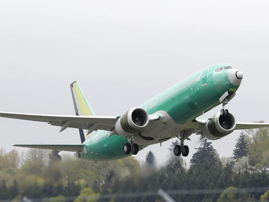 In this Wednesday, April 10, 2019 file photo, a Boeing 737 MAX 8 airplane being built for India-based Jet Airways, takes off on a test flight at Boeing Field in Seattle.