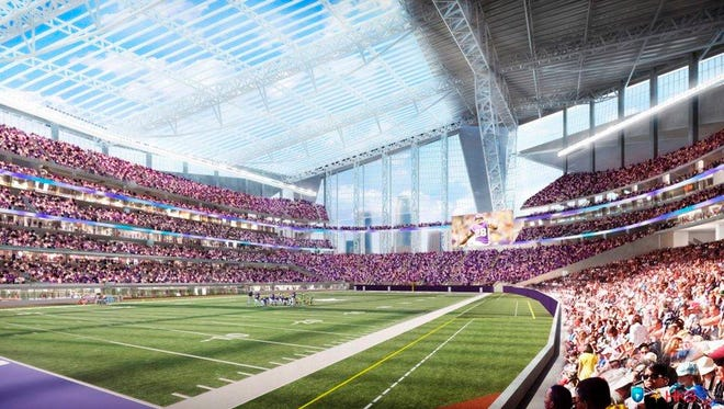 FILE - This artists rendering released on May 13, 2013, by the Minnesota Sports Facilities Authority and the Minnesota Vikings is the new Minnesota Vikings stadium.