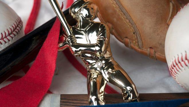 Stock photo of baseball trophy and baseball items
