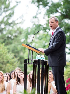 Chief Justice John Roberts gave the commencement address Thursday at a prestigious Catholic school from which his daughter, Josephine, graduated.