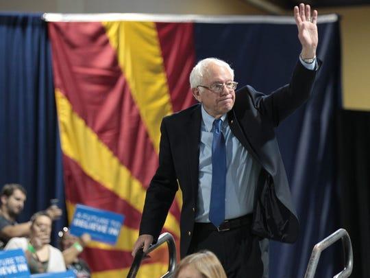 Democratic presidential candidate Bernie Sanders speaks