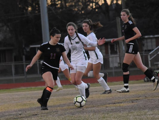 The Alexandria Senior High School girls' soccer team faced off against Holy Savior Menard High School Saturday, Jan. 5, 2019.