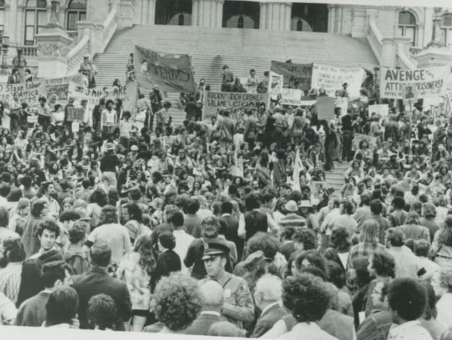 Thousands gathered Sept. 23, 1971, at the state Capitol in Albany to protest the takeover of Attica prison that left dozens dead.