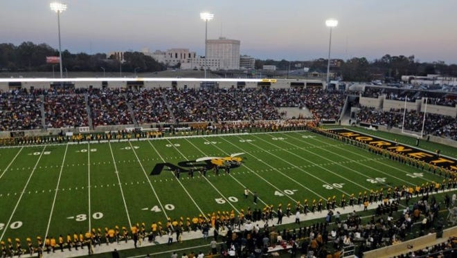 The first game at the new ASU Stadium was Thursday's Turkey Day Classic between the Hornets and Tuskegee.